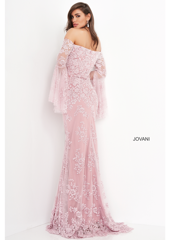 Jovani Pink Long Bell Sleeve Gown - Gissings Boutique