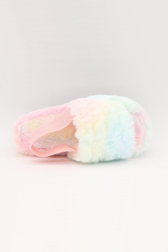 Girls Rainbow Faux Fur Slippers - Gissings Boutique
