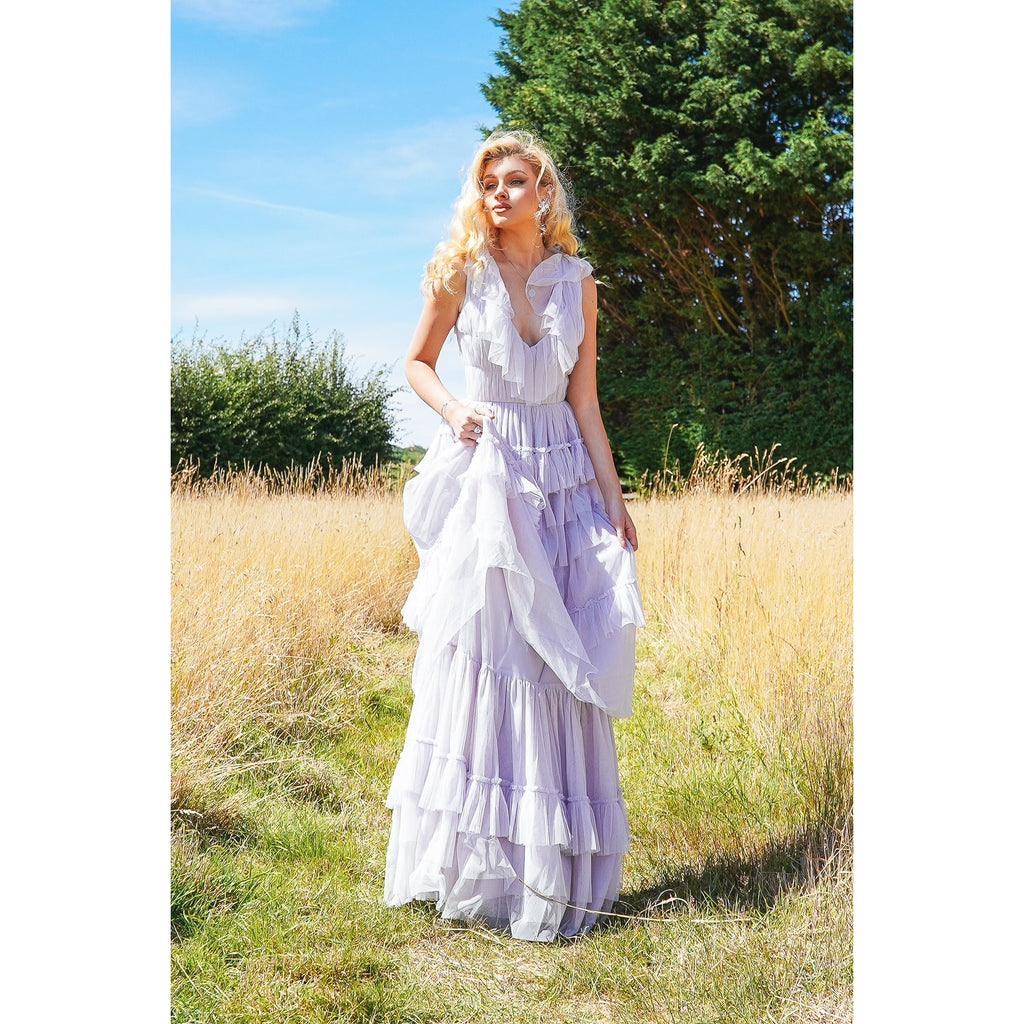 Lilac Tulle Maxi Dress - Gissings Boutique