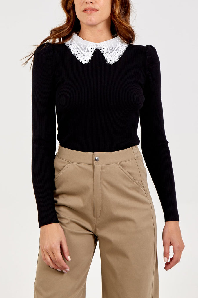 Black Soft Knitted Jumper with Lace Collar - Gissings Boutique