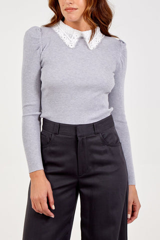 Grey Soft Knitted Jumper with Lace Collar