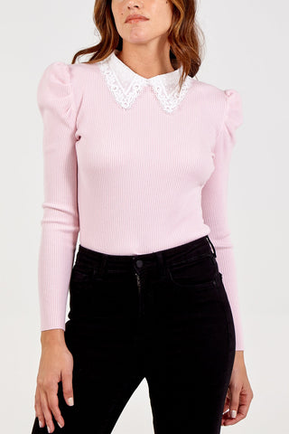 Pink Soft Knitted Jumper with Lace Collar
