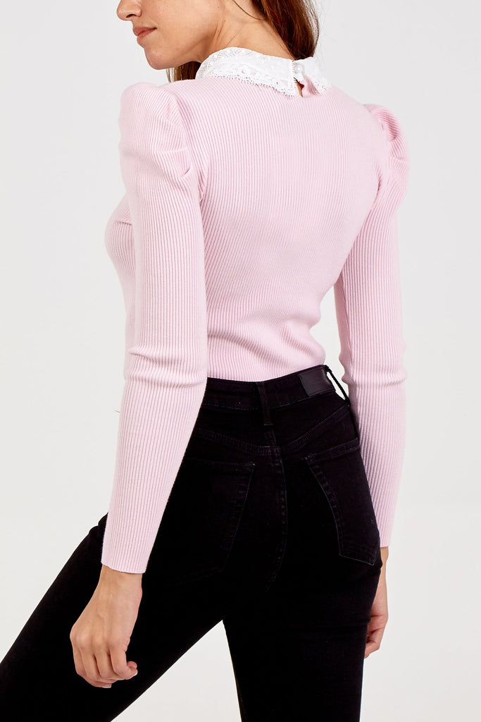 Pink Soft Knitted Jumper with Lace Collar - Gissings Boutique
