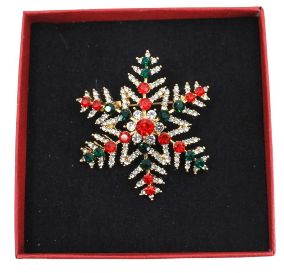 Ladies Festive Christmas Snowflake Crystal Brooch - Gissings Boutique