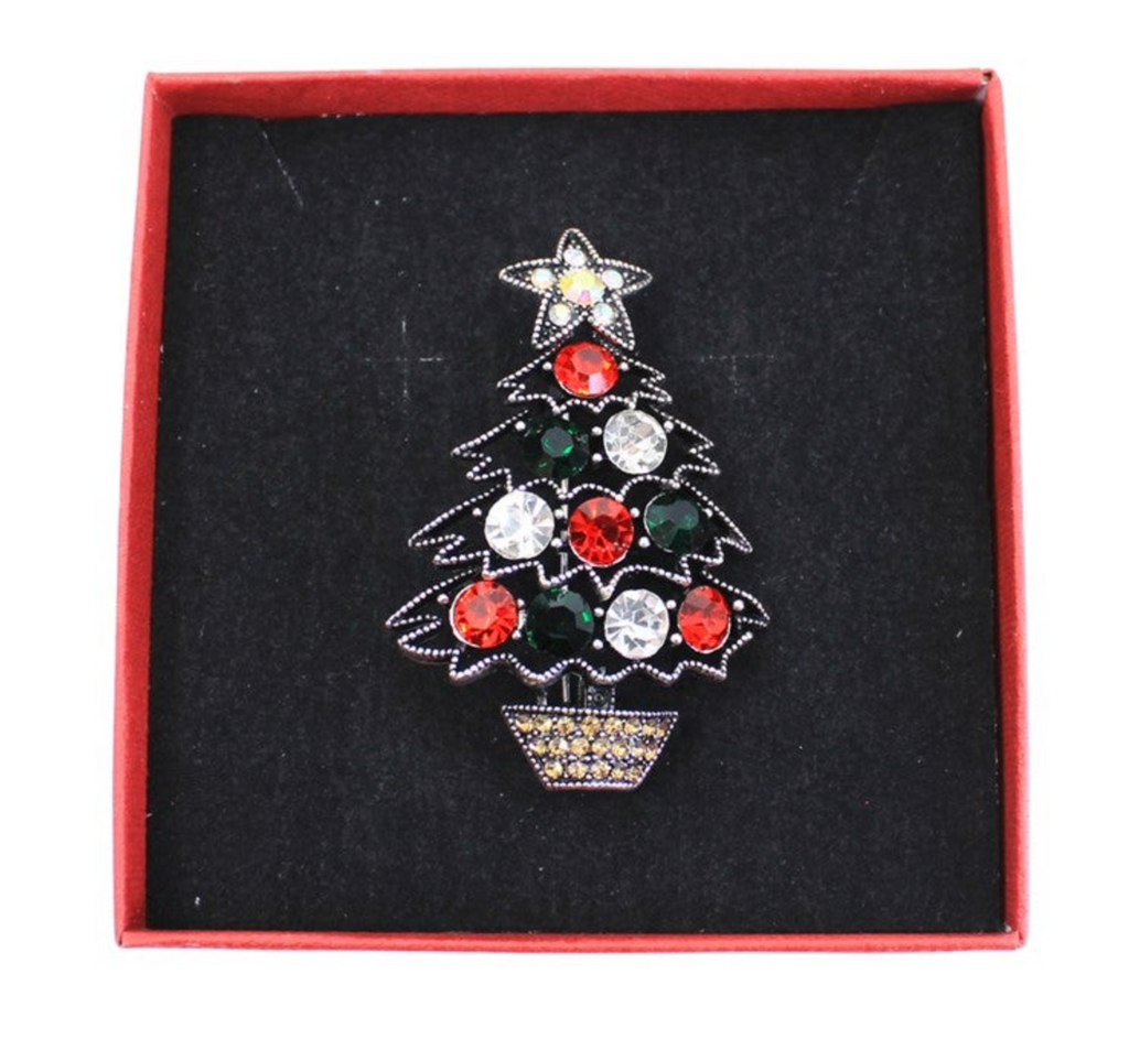 Ladies Festive Christmas Tree Crystal Brooch - Gissings Boutique