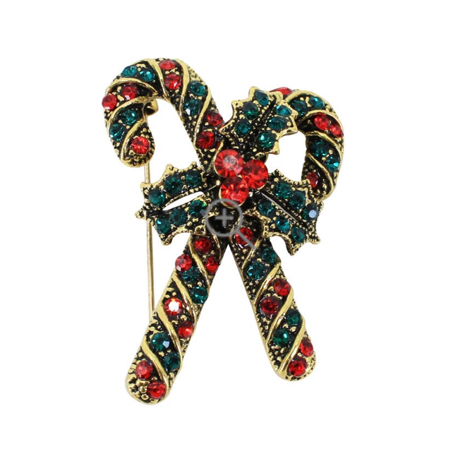 Ladies Christmas Candy Cane Crystal Brooch - Gissings Boutique