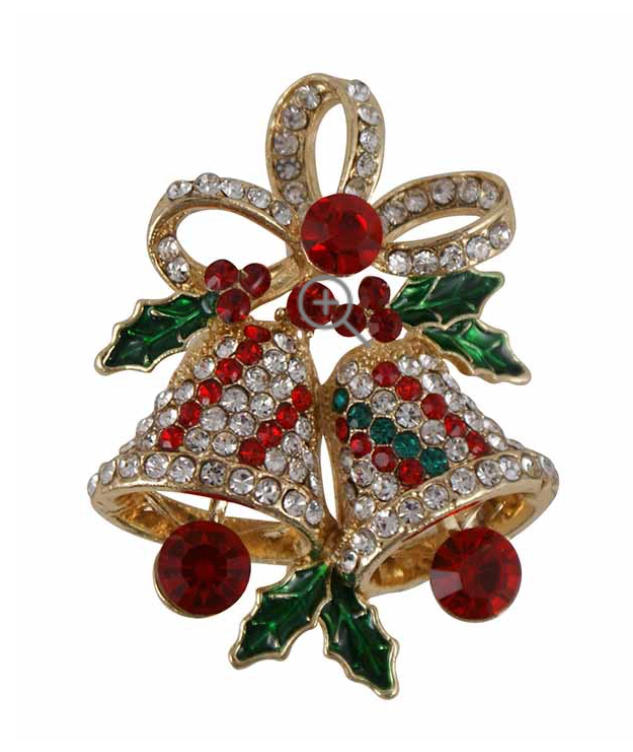 Ladies Christmas Bell Crystal Brooch - Gissings Boutique