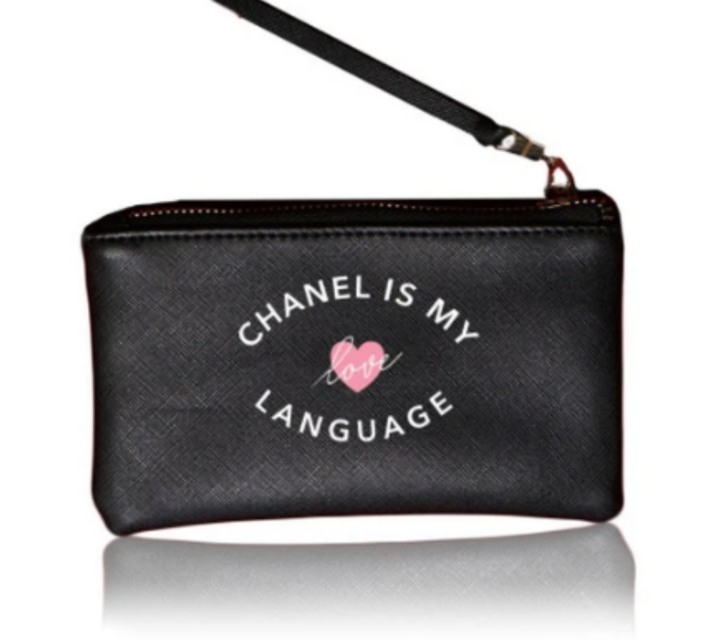 Vegan Leather Black Chanel Love Pouch - Gissings Boutique