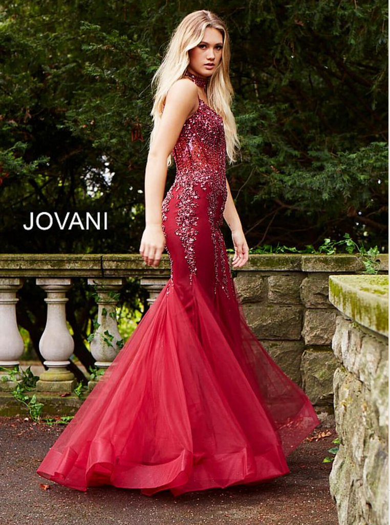 Jovani Red Embellished Mermaid Dress - Gissings Boutique