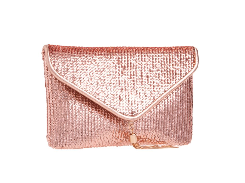 Champagne Sequin Clutch Bag - Gissings Boutique