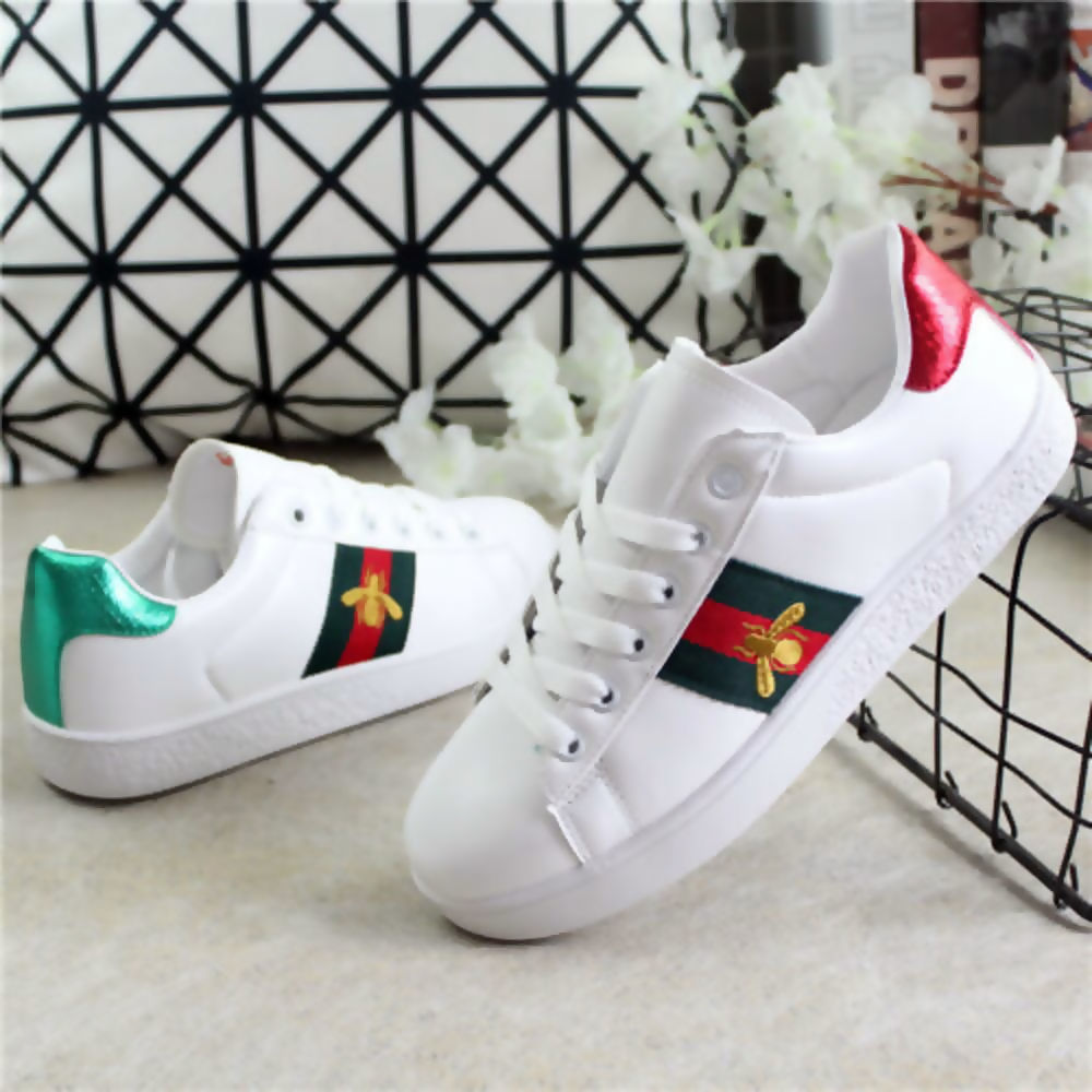White with Red Green Stripe Trainers - Gissings Boutique
