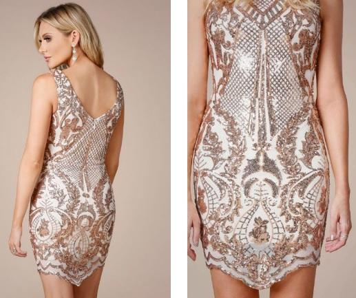 Rose Gold Cocktail Dress - Gissings Boutique