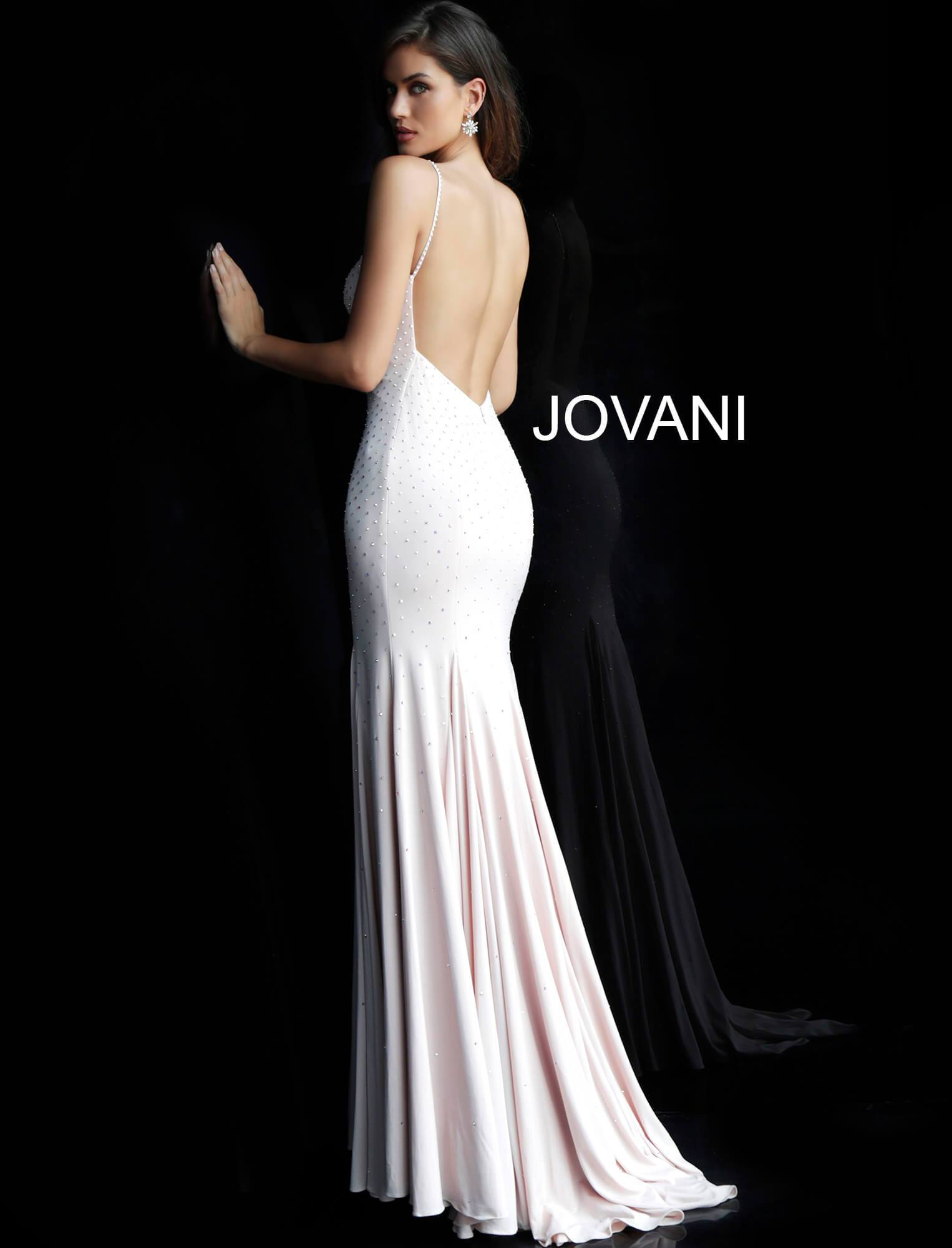 Jovani Backless Embellished Jersey Gown - Gissings Boutique