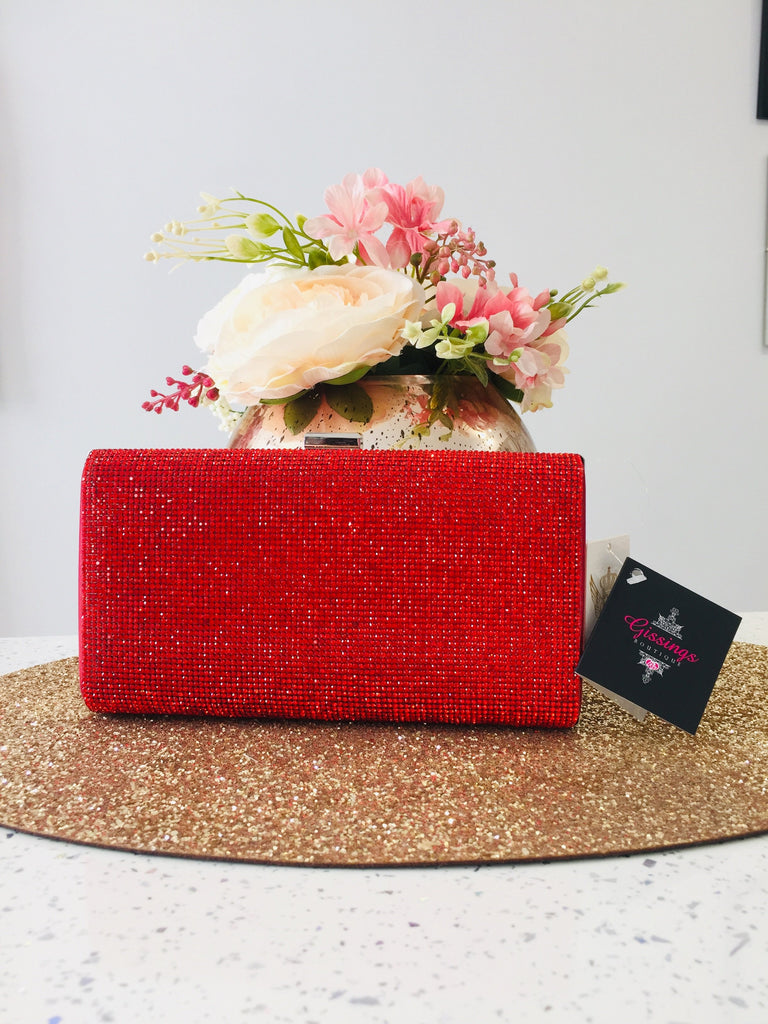 Red Crystal & Satin Evening Bag - Gissings Boutique