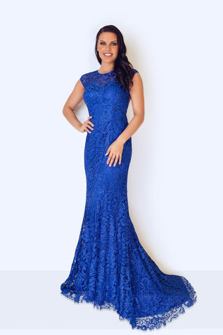 Kanti Long Blue Lace Dress - Gissings Boutique
