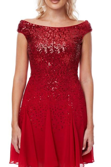 Sequin and Chiffon Cocktail Dress - Gissings Boutique