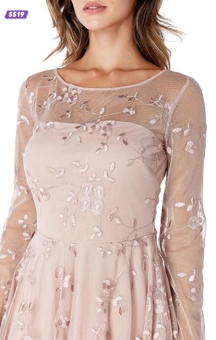 Misty Rose Lace Cocktail Dress