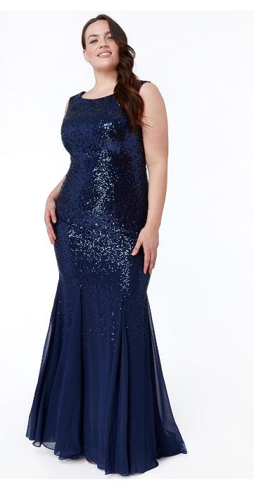 Navy Plus Size Sequin and Chiffon Maxi Dress