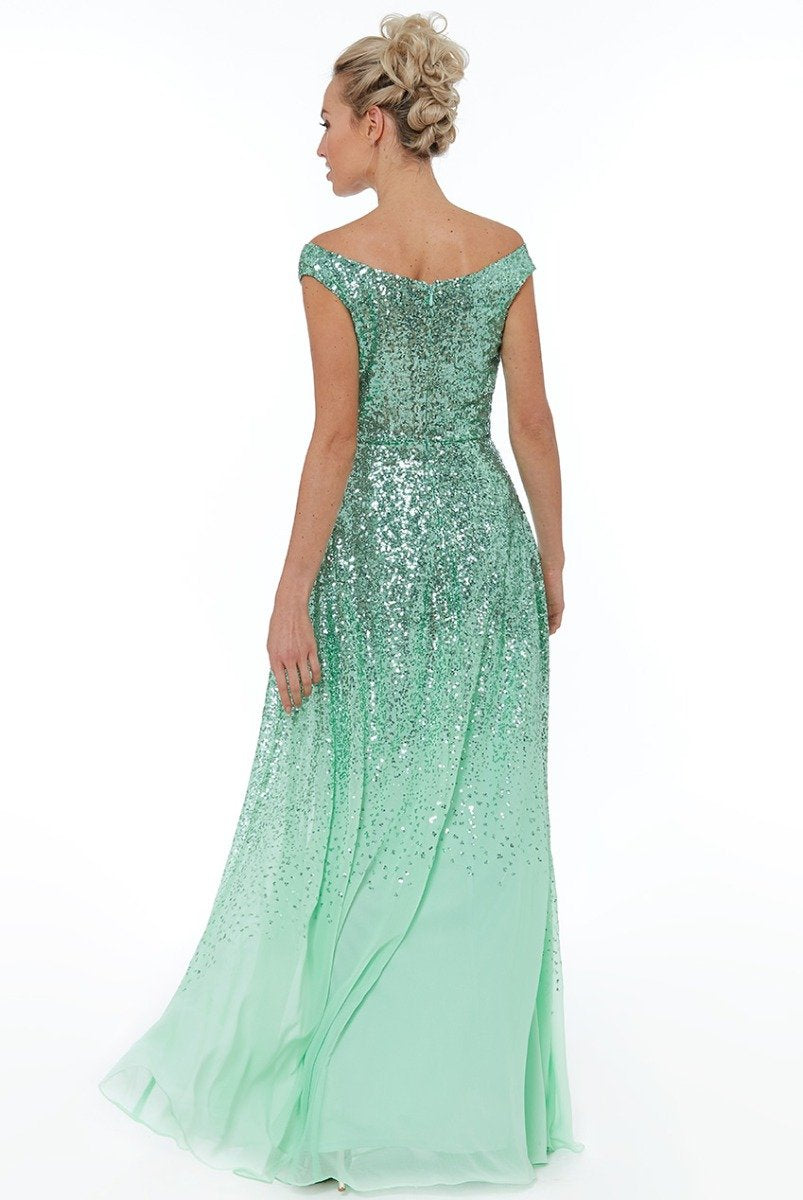 Mint Pleated Chiffon Dress with Sequin Bodice - Gissings Boutique