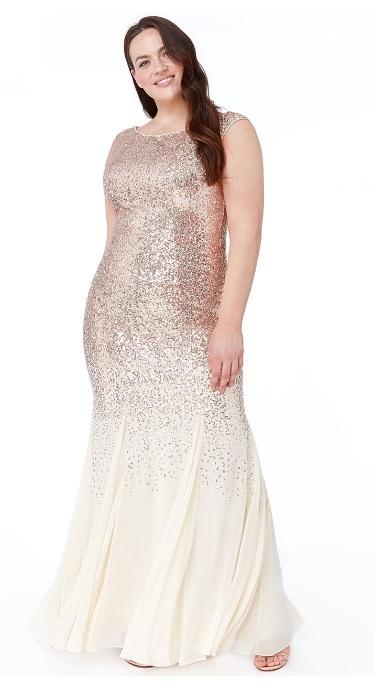 Plus Size Sequin and Chiffon Maxi Dress