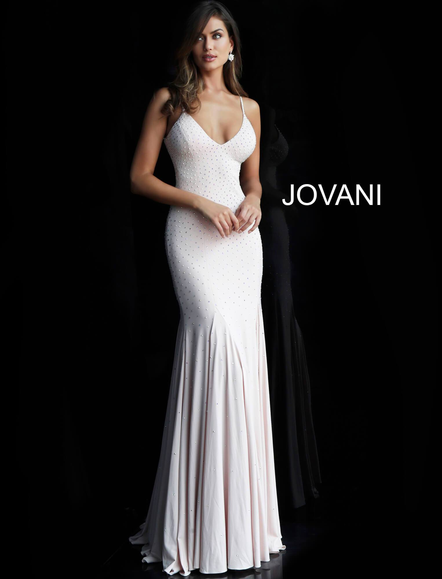 Jovani Backless Embellished Jersey Gown