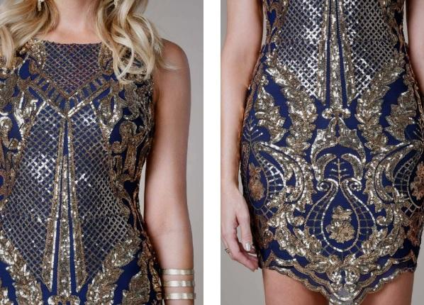 Navy & Gold Cocktail Dress