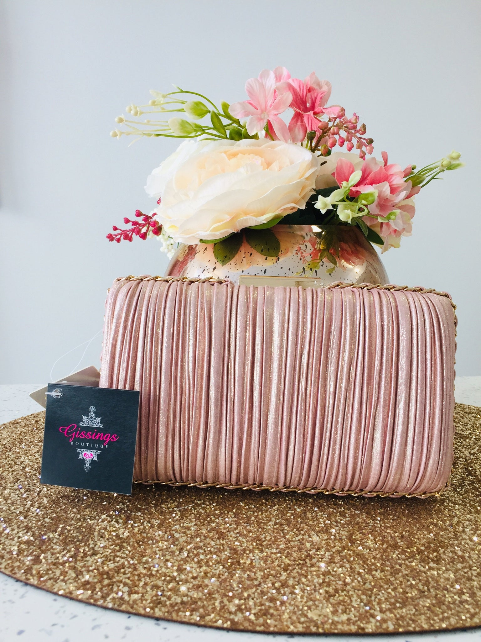 Rouched Satin Blush Pink Clutch Bag - Gissings Boutique