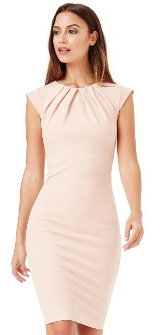 Nude Pleated Neckline Kate Dress