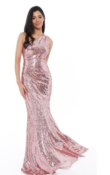 Rose Sequin One Shoulder Gown