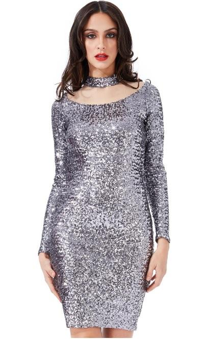Silver Sequin Midi Dress - Gissings Boutique