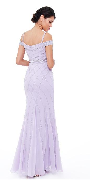 Lavender Off the Shoulder Embroidered Sequin Dress
