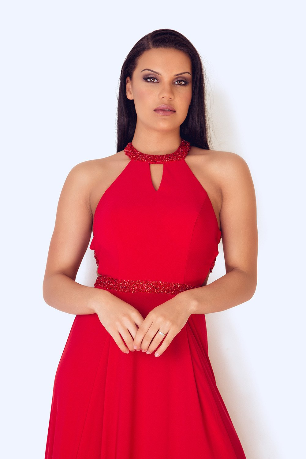 Lamia Long Red Dress - Gissings Boutique
