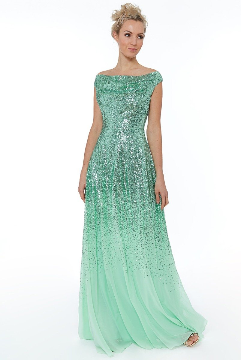 Mint Pleated Chiffon Dress with Sequin Bodice