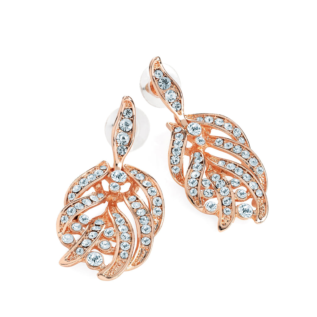 Rose Gold Crystal Drop Earrings - Gissings Boutique