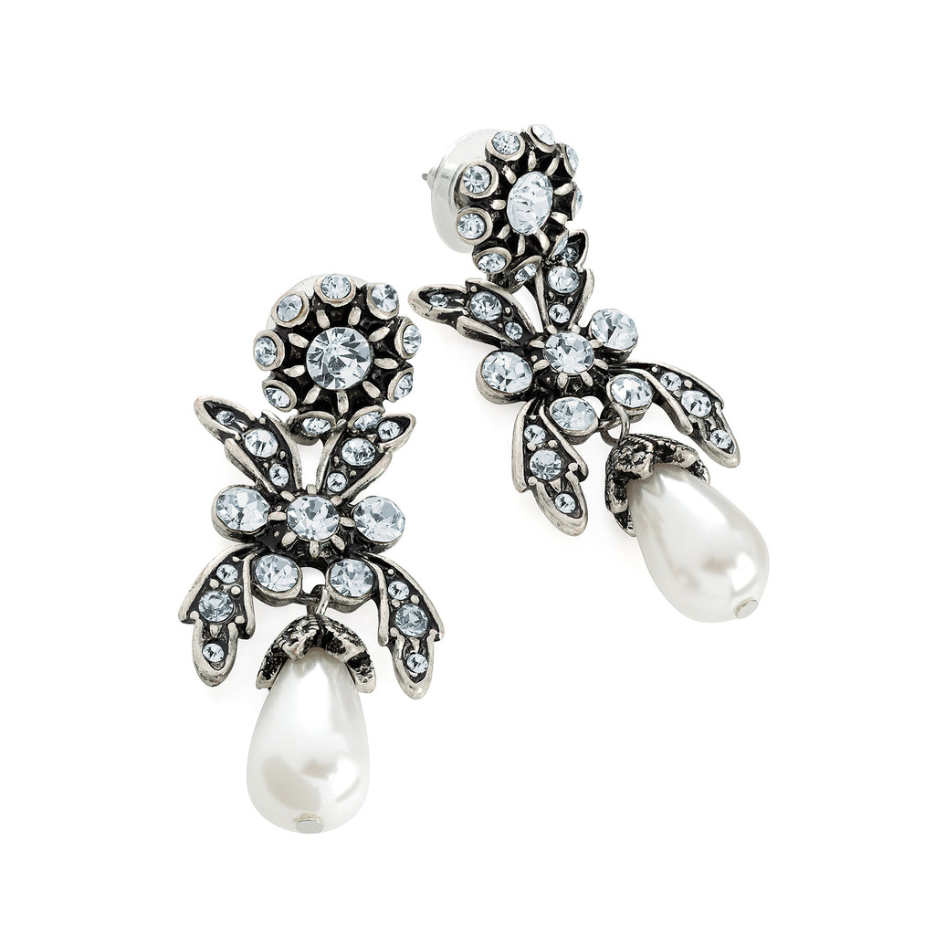 Silver Crystal & White Pearl Drop Earrings - Gissings Boutique