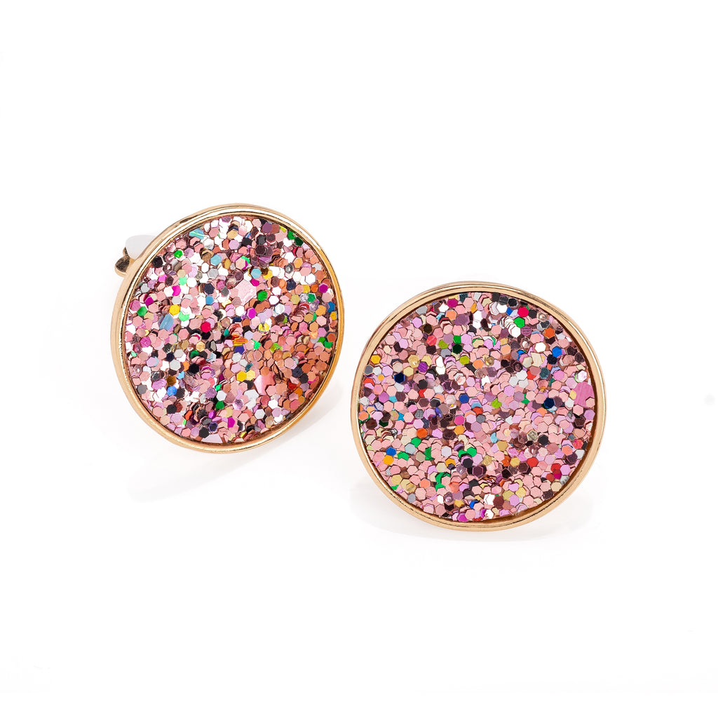 Gold Muti Glitter Clip On Earrings - Gissings Boutique
