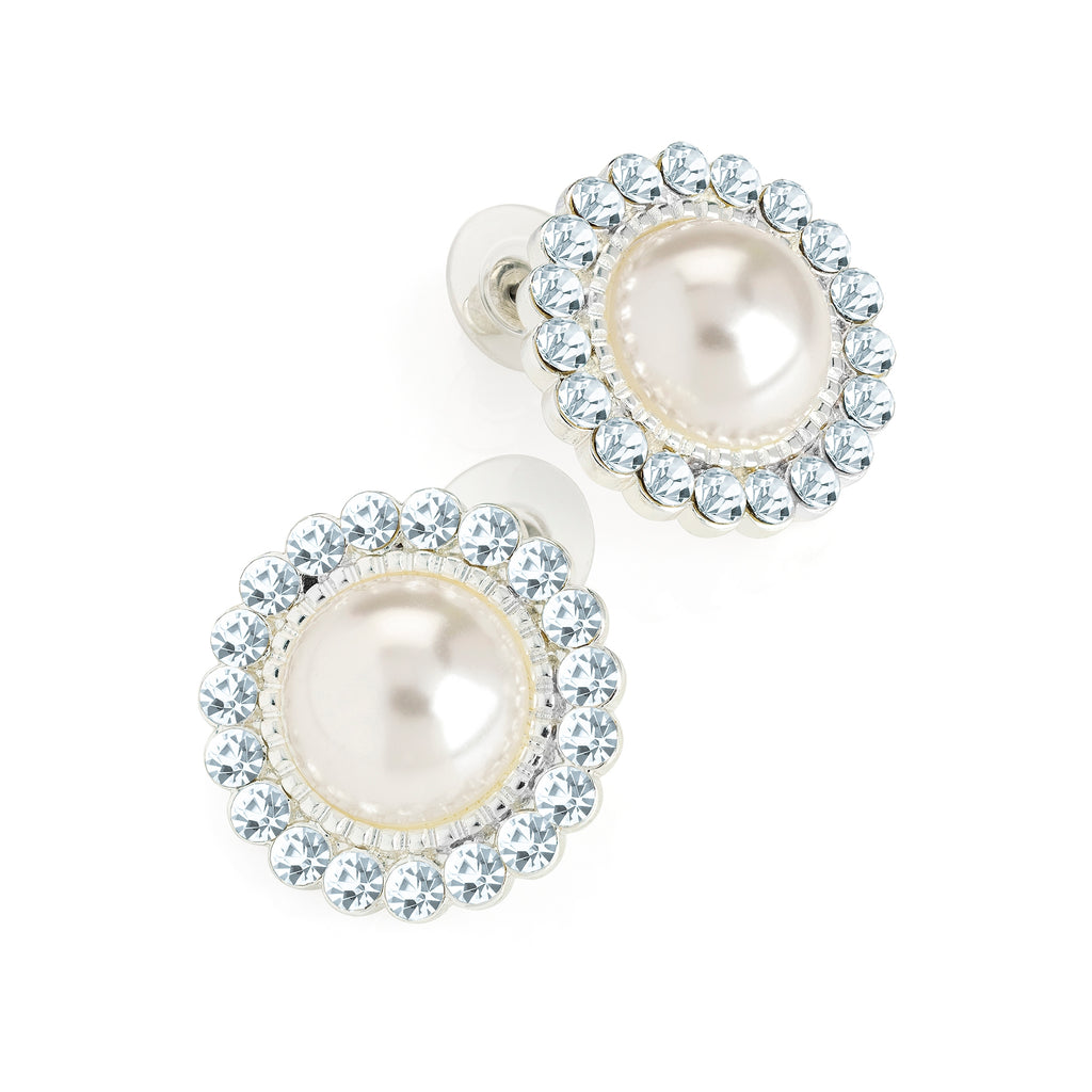 Silver & Crystal Cream Pearl Round Bridal Earrings - Gissings Boutique