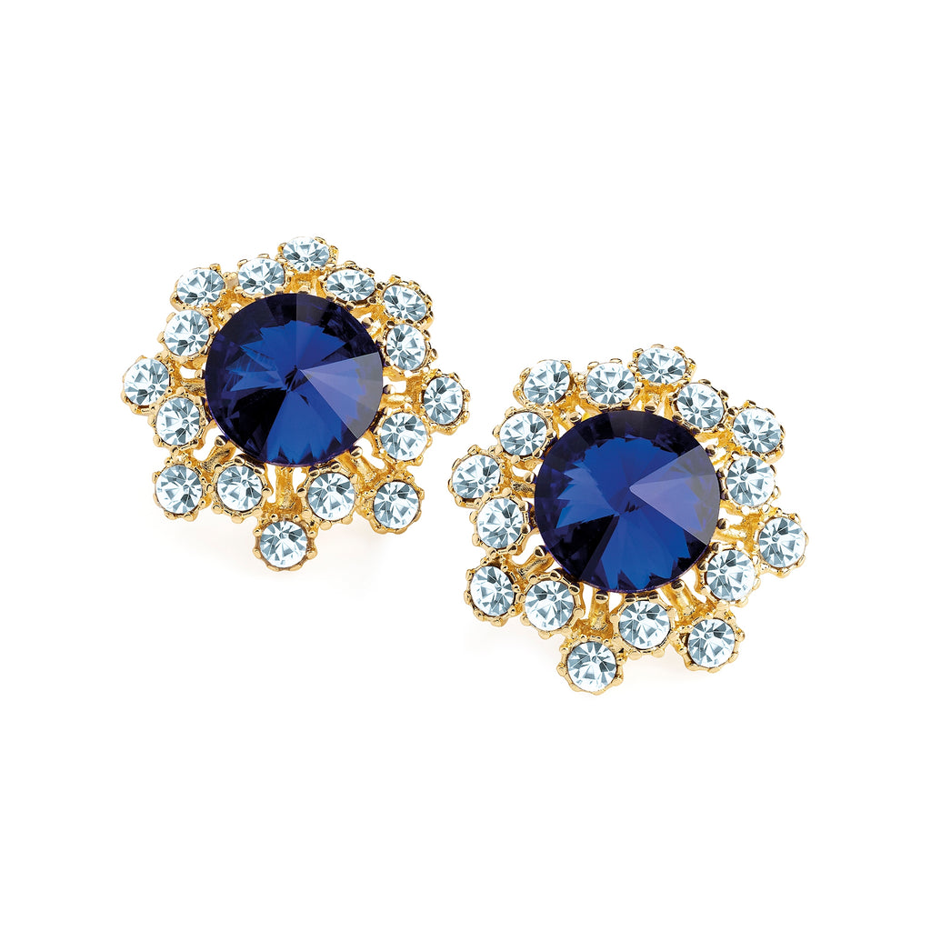 Gold Round White & Blue Crystal Earrings - Gissings Boutique