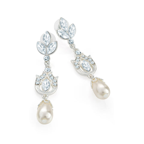 Silver Crystal Cream Pearl Drop Bridal Earrings - Gissings Boutique