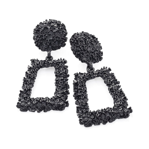Square Black Textured Fashion Earrings - Gissings Boutique
