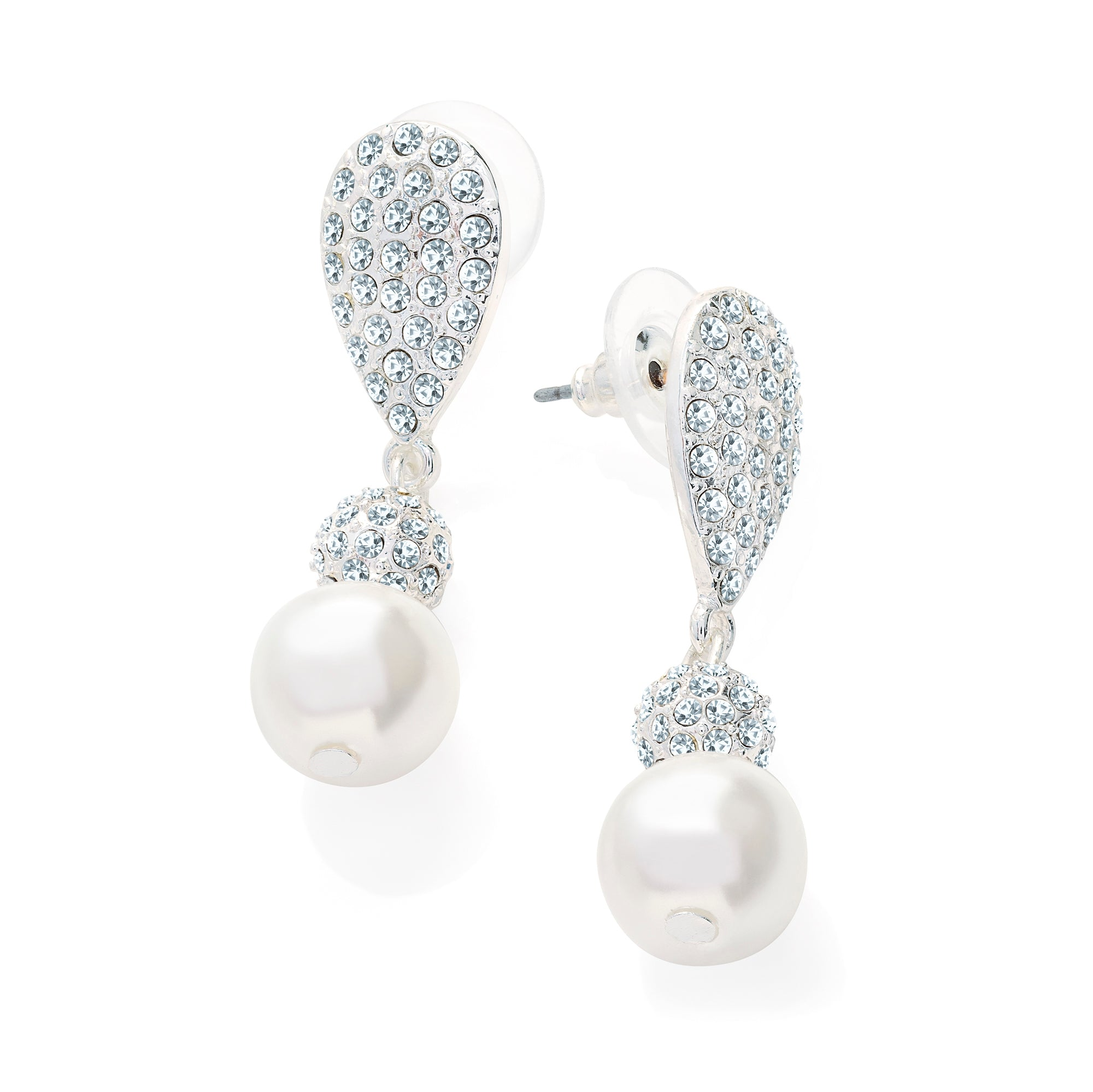 Silver Crystal & White Pearl Drop Bridal Earrings - Gissings Boutique