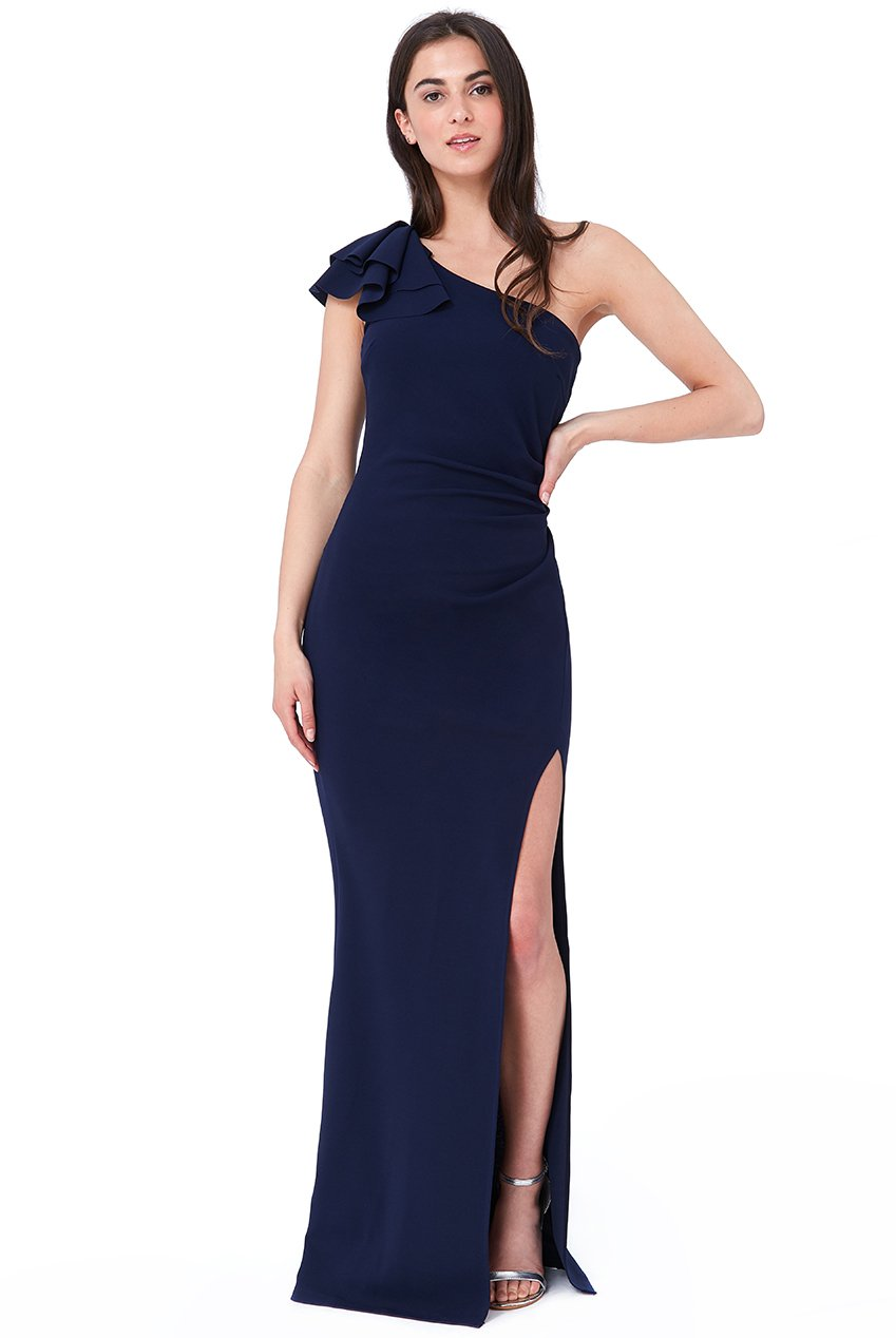 Navy One Shoulder Frill Floor Length Gown - Gissings Boutique