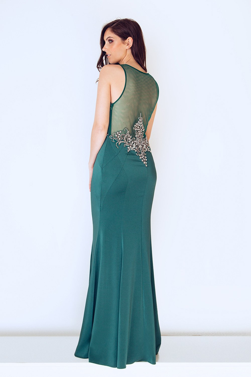 Emerald Green Long Satin Evening Gown - Gissings Boutique
