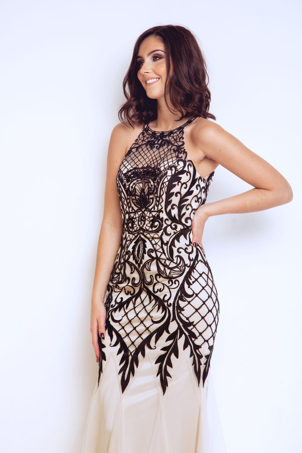 Jana Champagne & Black Long Dress - Gissings Boutique
