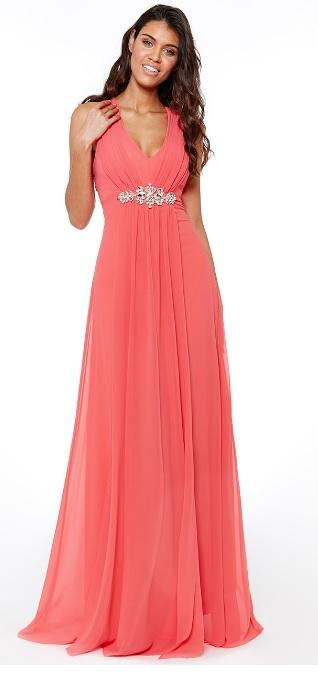 Coral Embellished Chiffon Dress