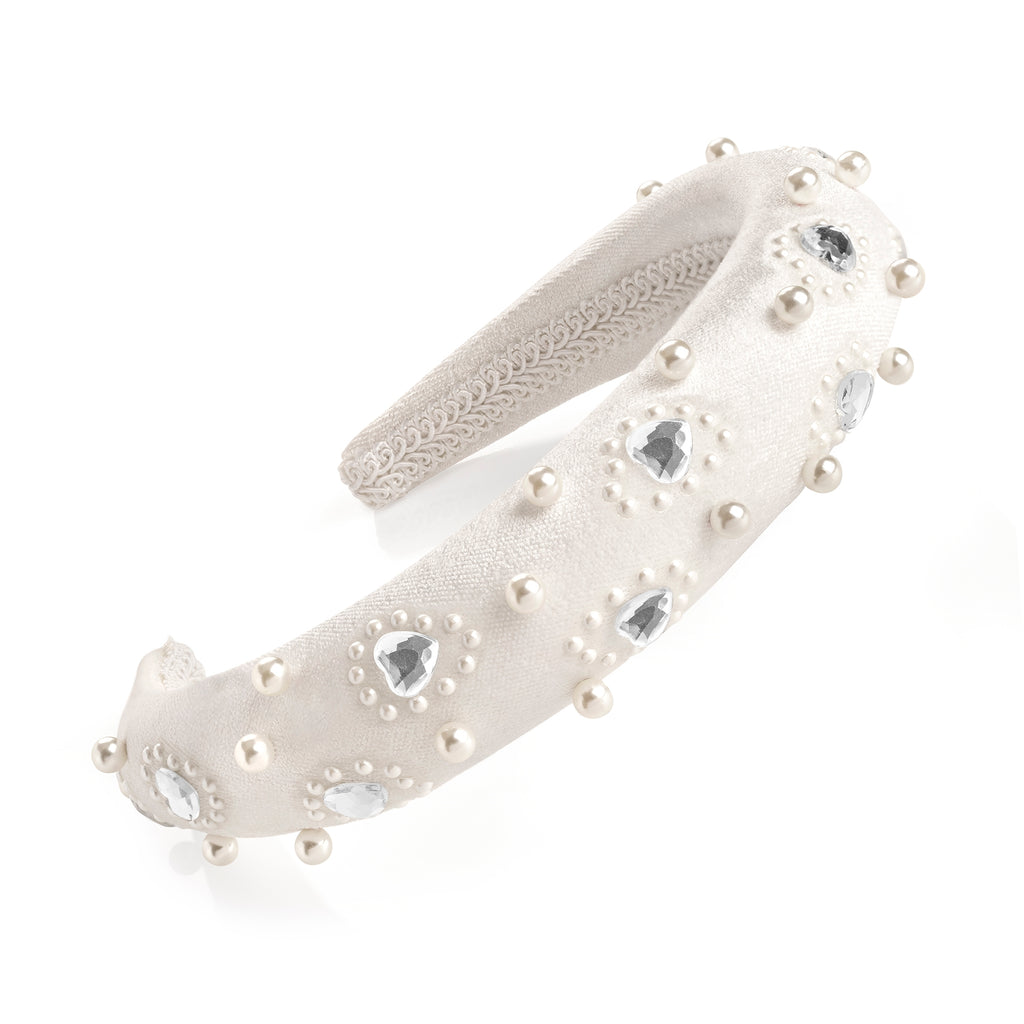 Cream Velvet Pearl & Crystal Padded Headband - Gissings Boutique