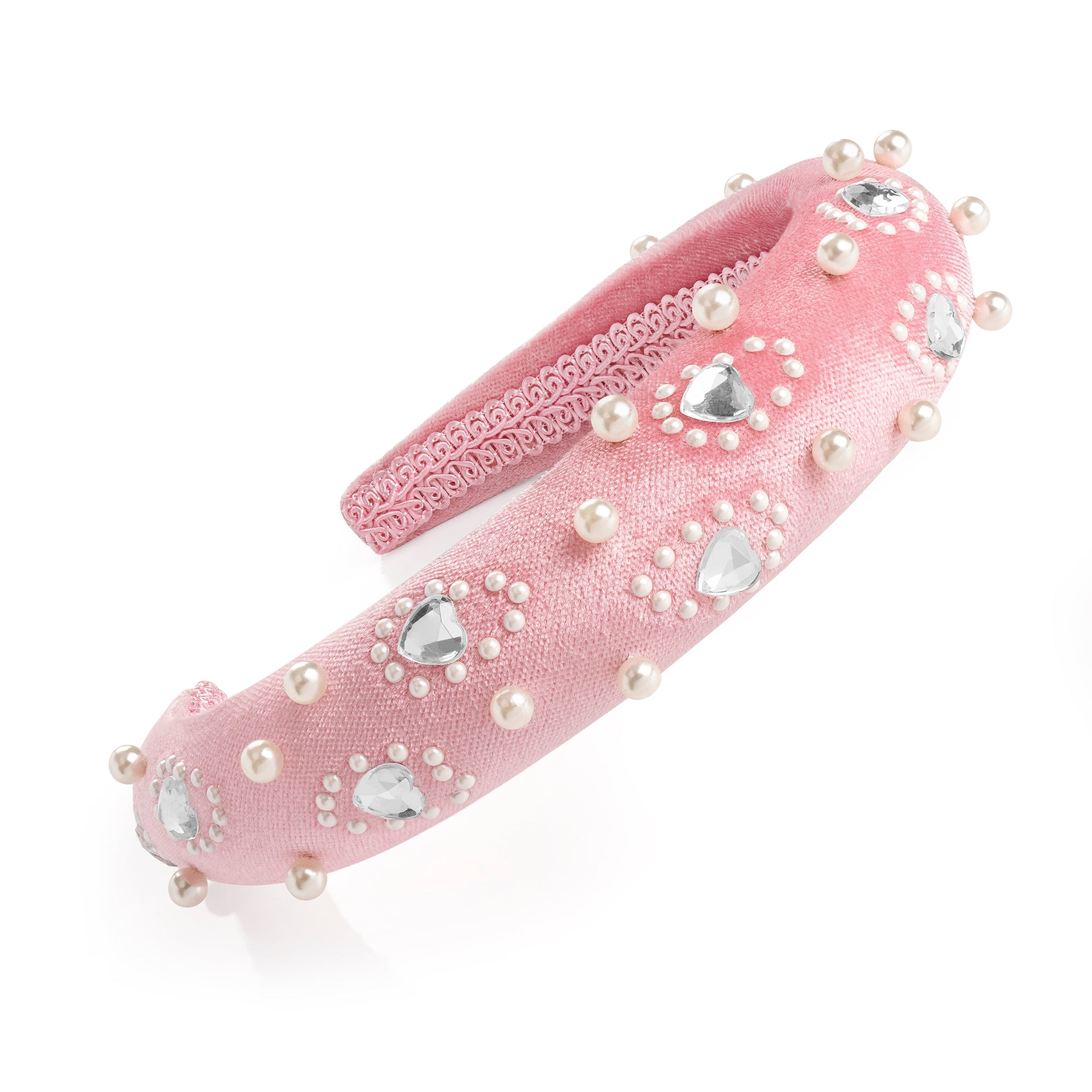 Pink Velvet Pearl & Crystal Padded Headband - Gissings Boutique