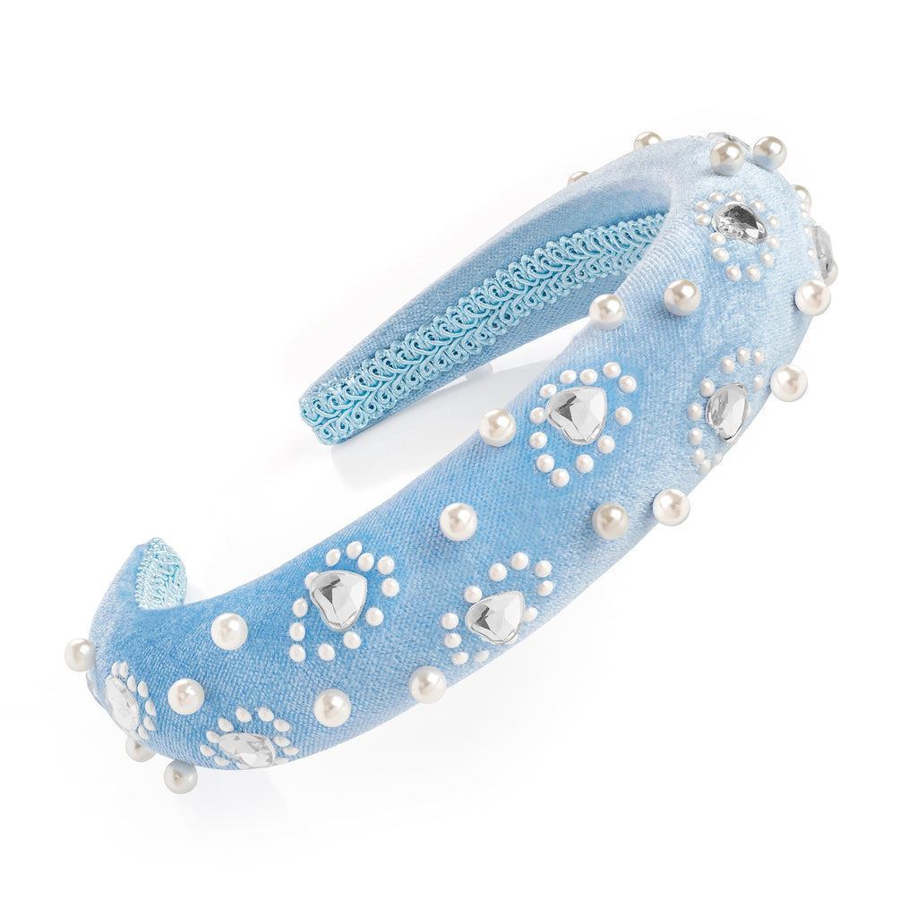 Blue Velvet Pearl & Crystal Padded Headband - Gissings Boutique