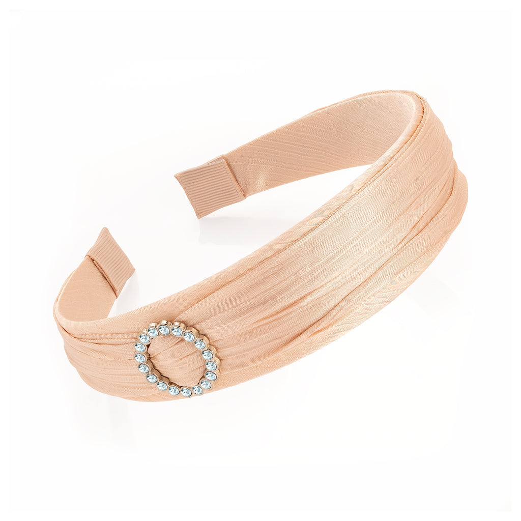 Beige Satin & Silver Ethical Crystal Fashion Headband - Gissings Boutique