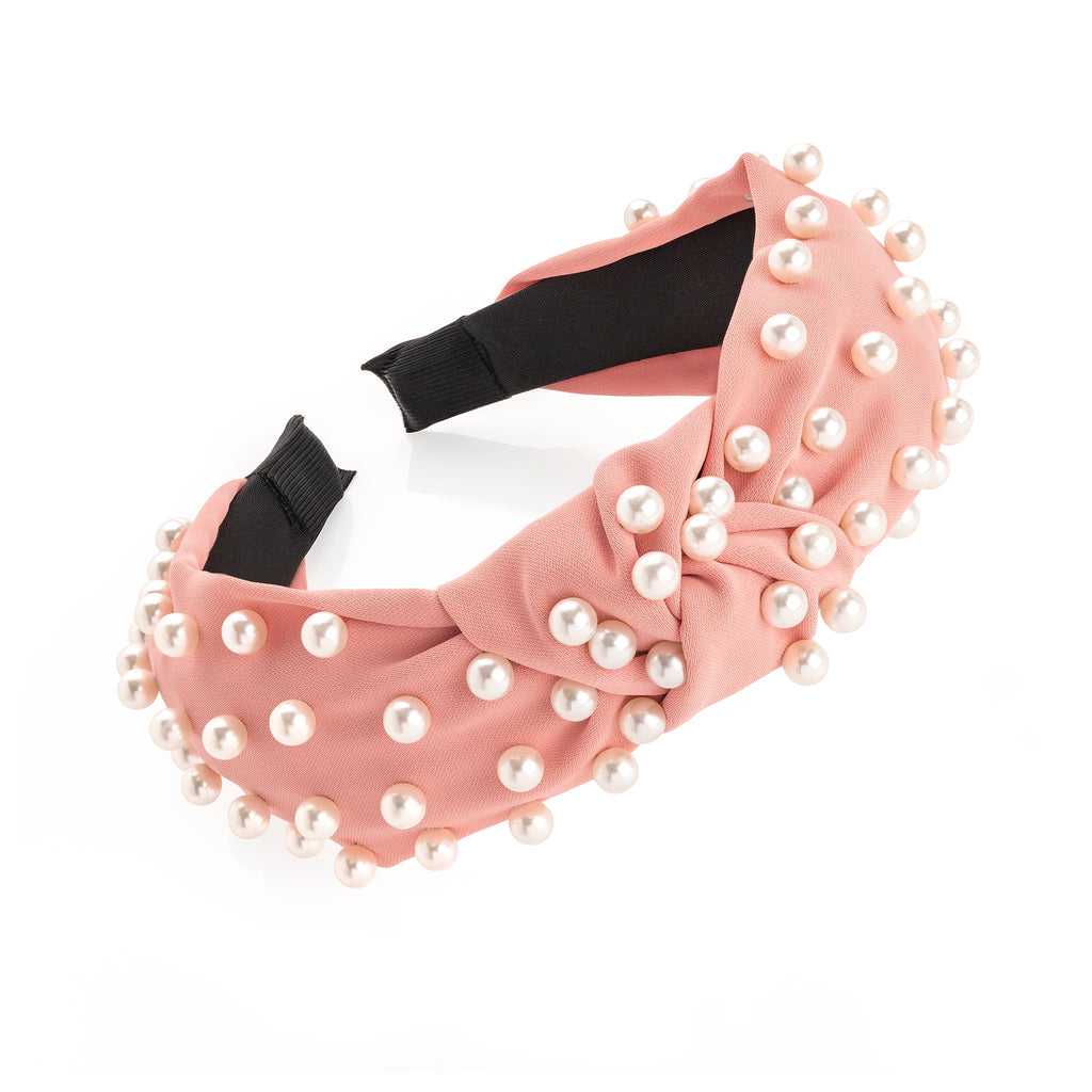 Pink & Cream Pearl Knot Headband - Gissings Boutique